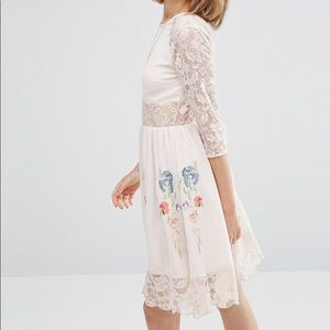 ASOS NWT Embroidered Lace Skater Dress